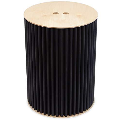 Eco-Sgabello cArtù di leggerodesign - Fashion Black: Questo Pouf Contenitore Ecologico è Disponibile in 2 Diversi Colori. Il Corpo è Realizzato in cArtù con Seduta e Base in Betulla. D.33 x H.44,7 cm