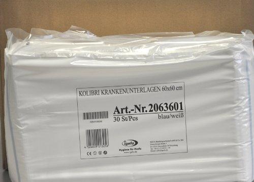 4 x 30 Stück Krankenunterlagen mit hautfreundlicher Vliesabdeckung, Kolibri KU, Abmessung 60x60 cm, Farbe mittelblau/weiß gestreift