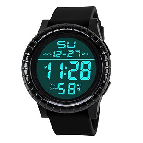 Homme montre, Honestyi nouveaux Mode numérique LED Date Compte à rebours pour homme Sport Montre à quartz, Noir