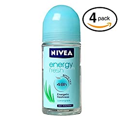 (Pack of 4 Bottles) Nivea ENERGY FRESH Womens Roll-On Antiperspirant & Deodorant. 48-Hour Protection Against Underarm Wetness. (Pack of 4 Bottles
