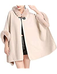 d028046f6aa4f HANMAX Cape d hiver Femme avec Capuche en Fourrure Fausse Manteau de Laine Manches  Longue