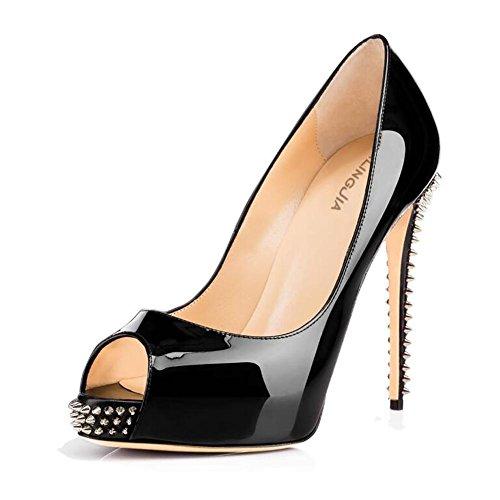 L@YC Frauen Fische Mund High Heels Wasserdichte Tisch Nieten Single Bequeme Sandalen Leopard Farbe Black