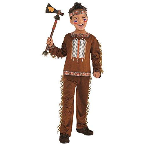 shoperama Indianer Jungen-Kostüm American Native braun Wildlederoptik Fransen Perlen Kinder weich Karneval Fasching Verkleidung, Größe:128 - 6 bis 8 Jahre