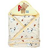 Mee Mee Baby Wrapper With Hood, Teddy Print, Yellow