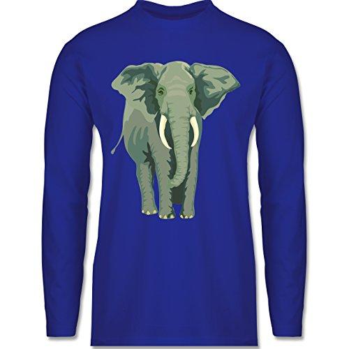 Shirtracer Wildnis - Elefant - Herren Langarmshirt Royalblau