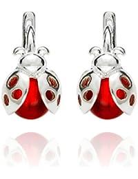 butterfly Filles Boucles D'oreilles Vrai Argent Rouge Coccinelle Sacs en Satin Cadeaux de Bijoux Pour Enfants