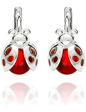butterfly Mädchen Silber-Ohrringe echt Silber rot Marienkäfer Schmuck-Beutel, Geburtstag Geschenke für Mädchen