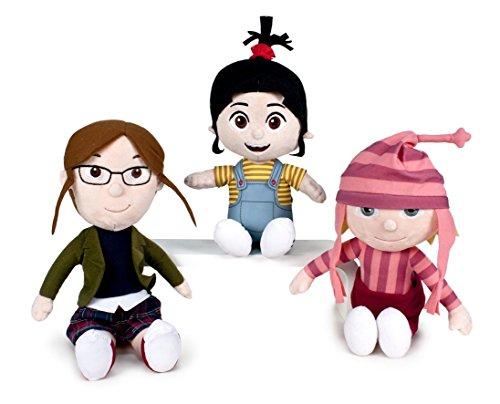 Minions - pack 3 peluches gru ragazze qualità super soft: agnes 27cm (brunetta) + edith 25cm (cappello rosa) + margo 28cm (occhiali)
