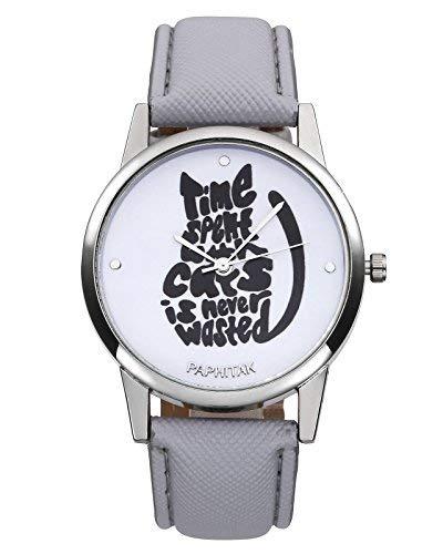 JSDDE Fashion diseño de gatos-Reloj de Pulsera Mujer Cute Gato Reloj cuero PU Mujer Relojes de pulsera reloj analógico de cuarzo con batería Características:-elección de un fashion reloj de cuarzo, hermoso regalo de precisión analógica cuarzo de l...