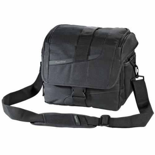 Flashstar DSLR-Kameratasche (Fototasche  inkl. Schnellzugriff, Staubschutz, Tragegurt, Regenschutz und Zubehörfächern, auch für SLR- und Systemkameras) schwarz