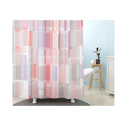 179Deco Rideau de salle de bains en tissu de polyester de qualité supérieure avec salle de bains antibactérienne étanche avec crochets 70 x 74 pouces 70 x 74 pouces Rose, gris