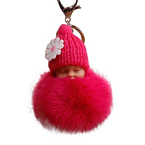 gaddrt 8cm Pompon niedlicher Fell Flauschig Schlafendes Baby Puppe Schlüsselanhänger Schlüsselanhänger Staubbeutel Charm Anhänger