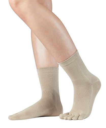 KNITIDO Silkroad Midi chaussettes 5 doigts en soie, pointure:35-38, couleur:beige