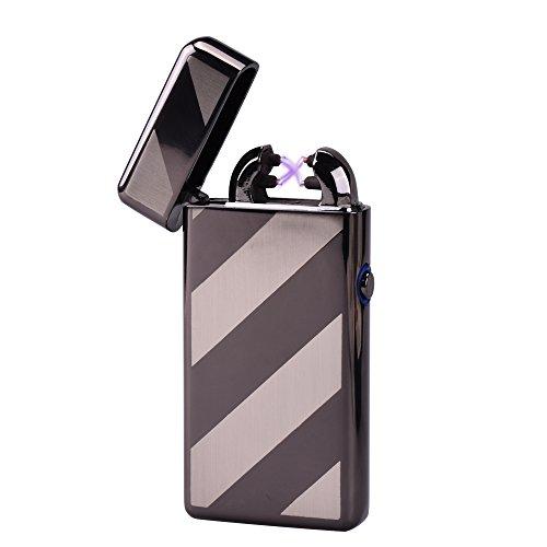 USB Elektronisches Feuerzeug Dual Lichtbogen Aufladbar Winddicht (Schwarzer Streifen)