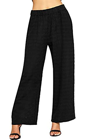 WEARALL Women's Baggy Linen Trousers Pants Ladies Elasticated Wide Leg Flared Stretch New - Black - 12-14
