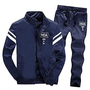 Oyedens Zweiteiliger Pullover Herren Casual Sportbekleidung Zip Hoodie Sweatshirt Mit Hose Trainingsanzug Zwei-Teilig