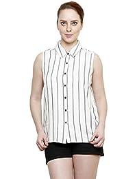 I AM FOR YOU Viscose Sleeveless Standard Collar Printed Shirt For Women