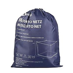 Sekey Moskitonetz für Einzelbett/Doppelbett, kastenform  Mesh Insektennetz mit Schnelle und Einfache Installation