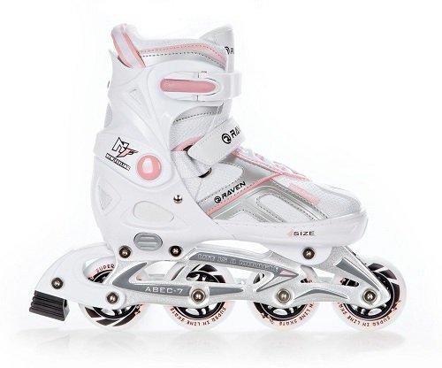 Raven Inline Skates Inliner Pulse White/Pink verstellbar (37-40(23,5cm-26cm))
