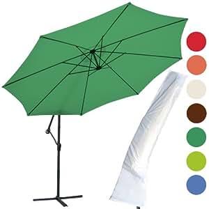 Miadomodo Garden Parasol Ø 3.5 m Outdoor Patio Cantilever Hanging Banana Umbrella Sunshade (Green) + Protective Cover