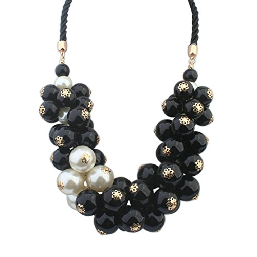 Aooaz Collane donna Boemia Collane statement Collane girocollo Vintage Lungo Ritorto corda perla nero