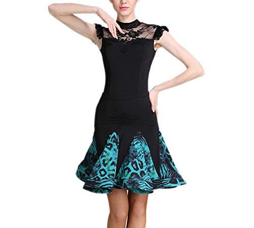 LCWORD Latin Dance Röcke Damen Performance Velvet Rüschen Naturrock,Blue,L
