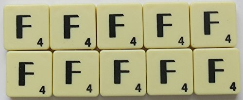 Scrabble Tiles Single Letters - Packs of 10 Ivory Plastic Tiles with Black Letters (Tile F)