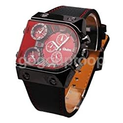 Alcoa Prime Mens Wrist Watch with 3 time zones Stainless Steel Casing Faux Leather Strap