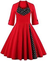 Mujer Plus Size Otoño Vestido Vintage Manga Larga Punto Rojo vestidos florales vestidos patchwork Retro parte