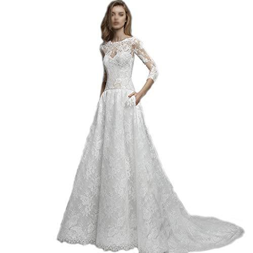 Boda Palabra Hombro Vestido Blanco de Manga Larga Retro Floral Encaje Tela Vestido Trasero (Color : White, tamaño : L)