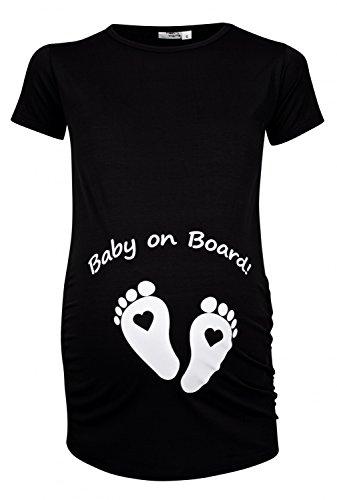 Happy Mama. Woman's Maternity Slogan Little Feet Funny Print Top T-shirt. 199p (Black, UK 16/18, 3XL)