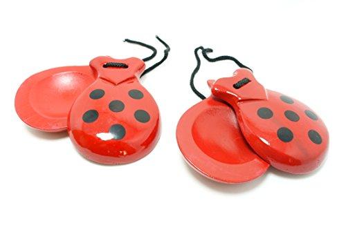 Castañuelas de mano .rojo con puntos negro