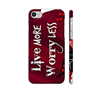 Colorpur iPhone 7 Cover - Live More Worry Less On Red Printed Back Case