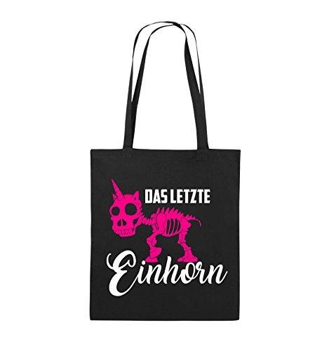 Comedy Bags - Das letzte Einhorn - SKELETTE - Jutebeutel - lange Henkel - 38x42cm - Farbe: Schwarz / Weiss-Pink Schwarz / Weiss-Pink