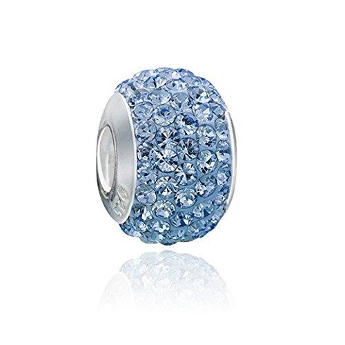 MATERIA Strass Beads Kugel Silber 925 - Kristall Anhänger blau mit Gewinde für European Beads Armband #1074 - Mit Silber Kugel Hülse