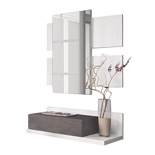 Habitdesign recibidor con cajón + Espejo, Mueble de Entrada Modelo Tekkan Acabado, Blanco Artik y Oxido, 75 cm (Ancho) x 116 cm (Alto) x 29 cm (Fondo)