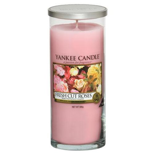 """Yankee Candle """"Fresh Cut Roses"""" Stumpenkerze, pink, groß"""