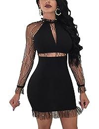 09b3a91af Dxlta Mini vestido para mujer - Cuello alto de manga larga con cuentas de  perlas de malla Patchwork vestidos ajustados…