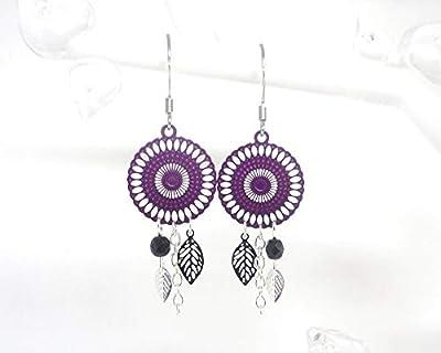 Boucles d'oreilles rosaces violet noir argenté feuilles tendance moderne chic mariage cérémonie création Odacassie
