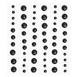 Stony-Sticker Halbperlen schwarz,60 St.,3 Grössen sort.