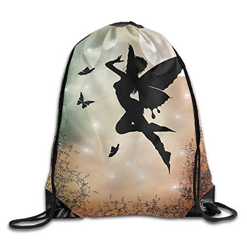 Etryrt Prämie Turnbeutel/Sportbeutel, Apartment Black Fairy with Angel Wings Butterflies and Sun Like Alluring Round Light Bags Rowing Backpack - Chanel Bag Light