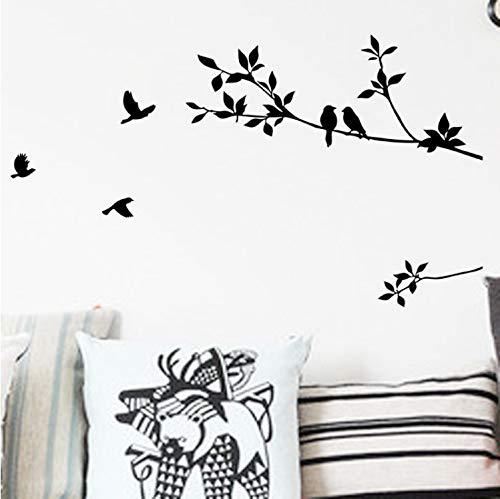 TYKCRt Stickers Muraux Oiseaux Sur Les Branches Arbre Stickers Zooyoo8171 Arts De La Chambre Décoratifs Classique Noir Amovible Vinyle Oiseau S - Classique 4 Licht