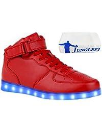 [Present:kleines Handtuch]Schwarz EU 39, Farbwechsel Leuchtende Blinkende Sport Neu Sneakers Led Schuhe High Top Freizeit Lic