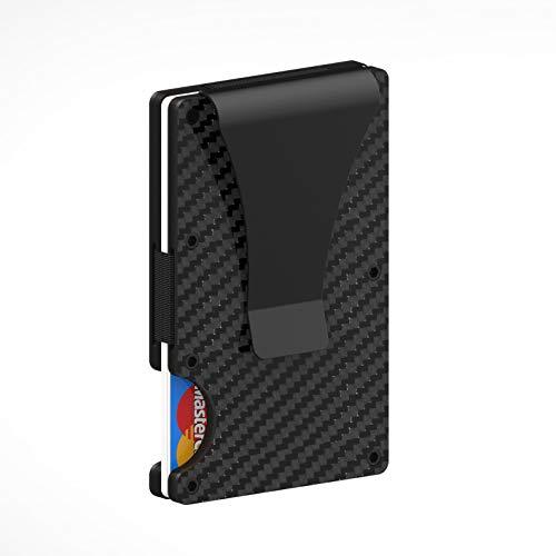 Porta carte di credito in fibra di carbonio con clip fermasoldi in metallo - Portafoglio sottile in metallo per uomo e donna, blocco RFID