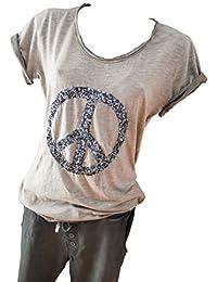 Gr 38 40 Stylisches ITALY Langarm Shirt mit Pailletten Stern taupe braun