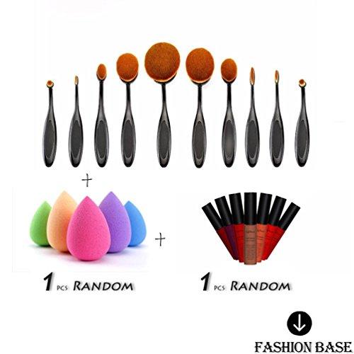 Fashion Base Lot de 10 brosses à maquillage ovales Fond de teint poudre pinceau à lèvres eyeliner + 1 Gloss/brillant à lèvres + éponge gratuite