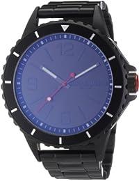 Quiksilver M165BF - Reloj analógico manual para hombre con correa de acero inoxidable, color negro
