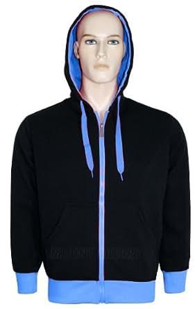 Mens Hoodies Quality Fleece Material Neon Coloured Borders and Zip Hooded Zip Jumper Sweatshirt (Small, Jade)
