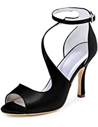 ElegantPark HP1505 Sandali da sposa col tacco a spillo peep toe scarpe da sposa