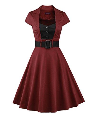 LaoZan Donna Manica corta Abito da cocktail con cintura Hepburn Stile Vestito da sera Vintage 1950s M Bodeaux